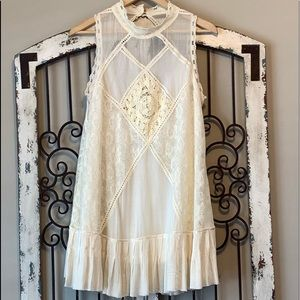 Free People Cream Tunic or Dress Lace Detail M